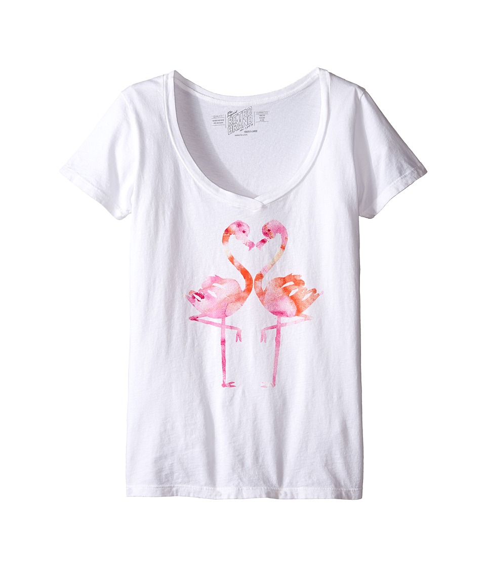The Original Retro Brand Kids - Flamingo V-Neck Tee (Little Kids/Big Kids) (White) Girl's T Shirt