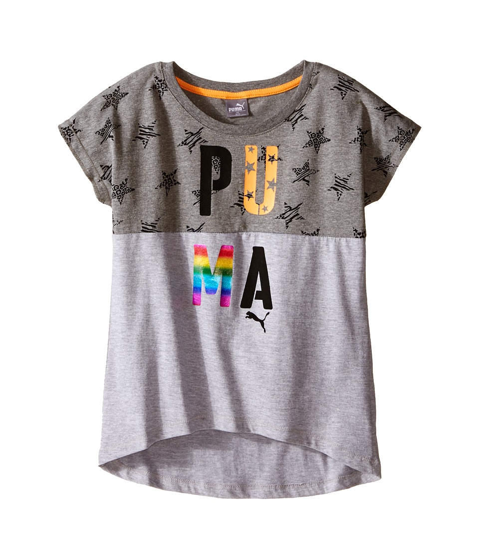 Puma Kids - Starry Scooped Hem Top (Big Kids) (Light Heather Grey) Girl's Clothing