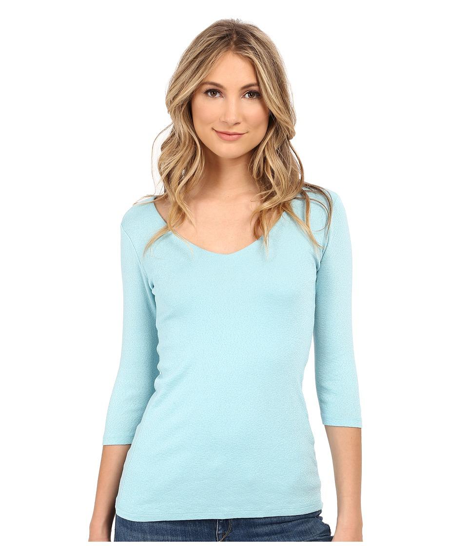 Michael Stars - Shine 3/4 Sleeve Double Front V-Neck (Serene) Women's Long Sleeve Pullover