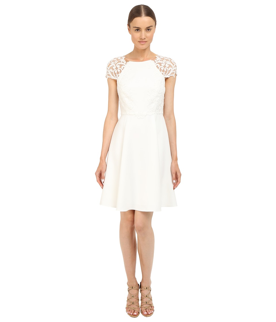 Marchesa Notte - Short Sleeve Cocktail Dress w/ Embroidered (Ivory) Women's Dress