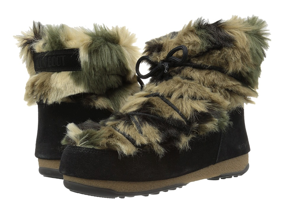Tecnica Moon Boot(r) W.E. Low Fur (Black/Green Camu) Women