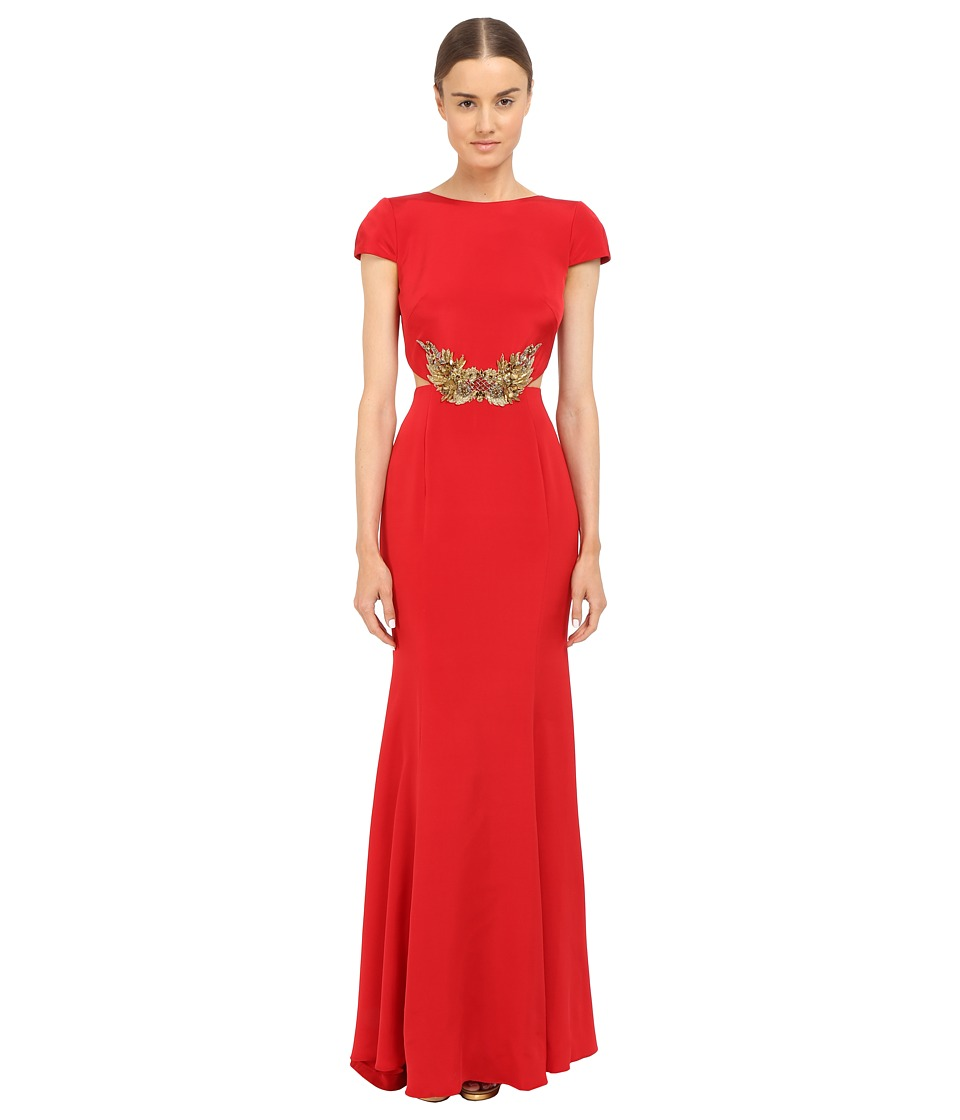 Marchesa Notte - Crepe Gown w/ Side Cut Outs (Red) Women's Dress
