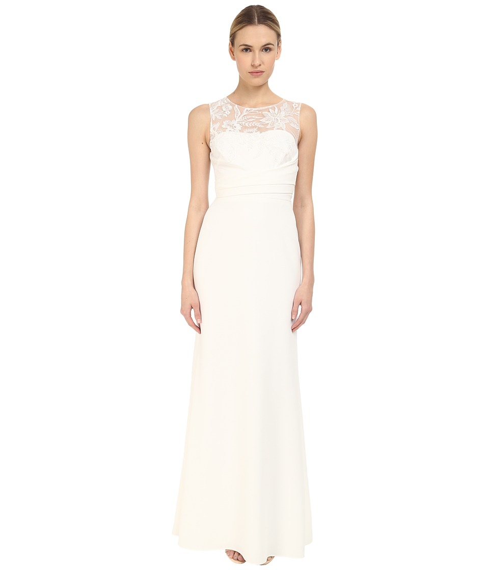 Marchesa Notte - Sleeveless Embroidered Crepe Gown (Ivory) Women's Dress