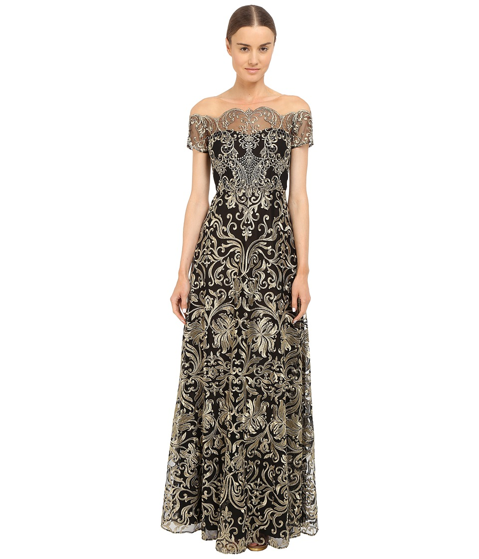 Marchesa Notte Fully Embroidered Gown (Black) Women