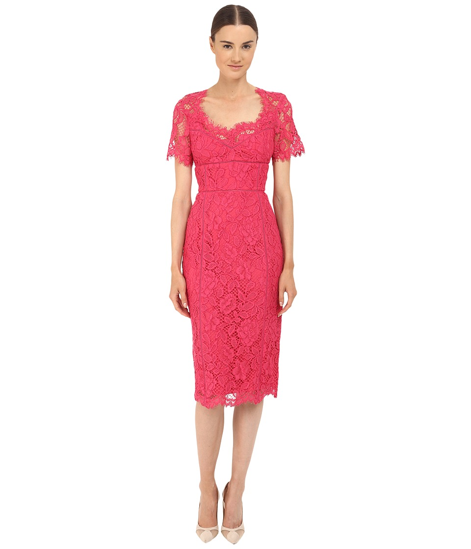Marchesa Notte - Lace Sheath Cocktail Dress w/ Laddering Detail (Fuchsia) Women's Dress