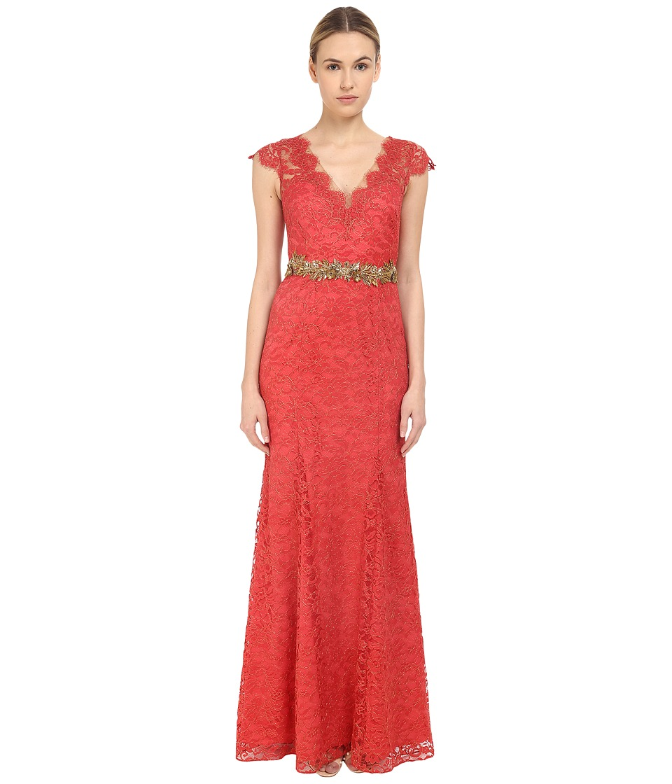 Marchesa Notte Metallic Lace Gown w/ Beaded Belt (Sienna) Women
