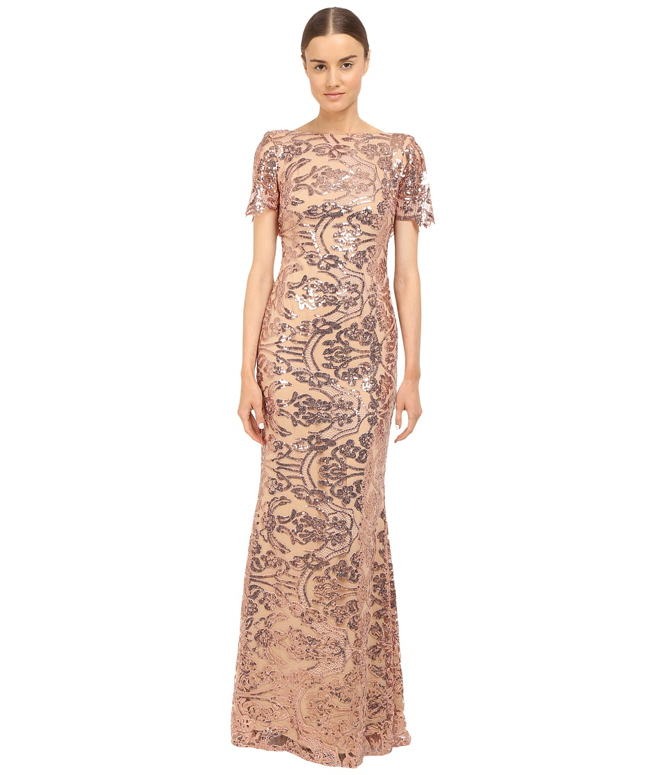 Marchesa Notte - Sequin Short Sleeve Gown w/ Cowl Back (Blush) Women's Dress