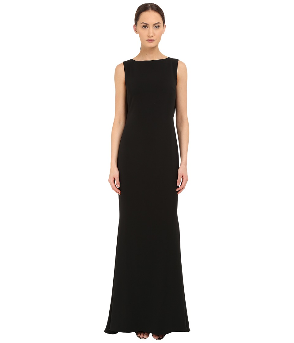 Marchesa Notte - Crepe Gown w/ Cowl Back (Black) Women's Dress