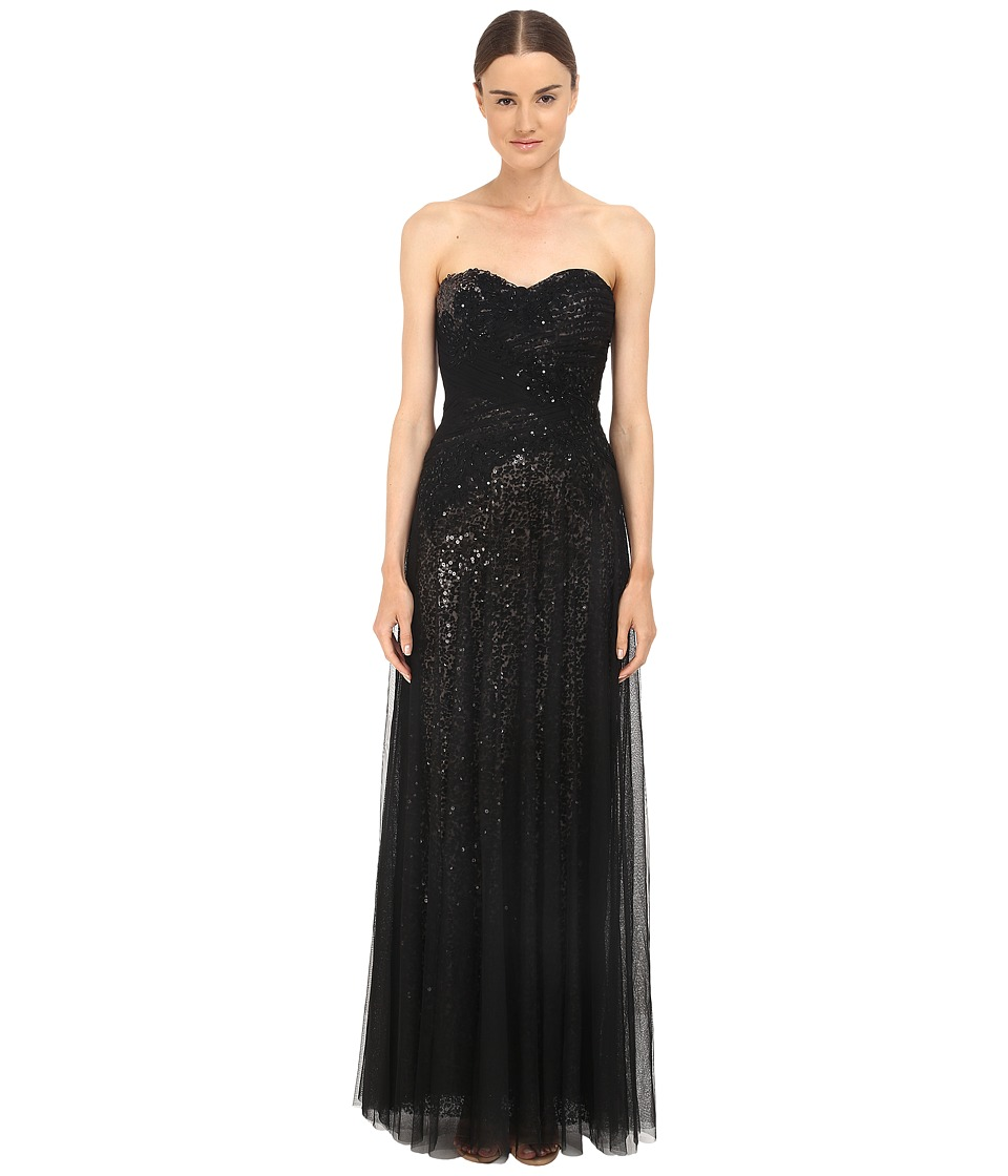 Marchesa Notte Sequin Gown w/ Draped Tulle Overlay (Black) Women