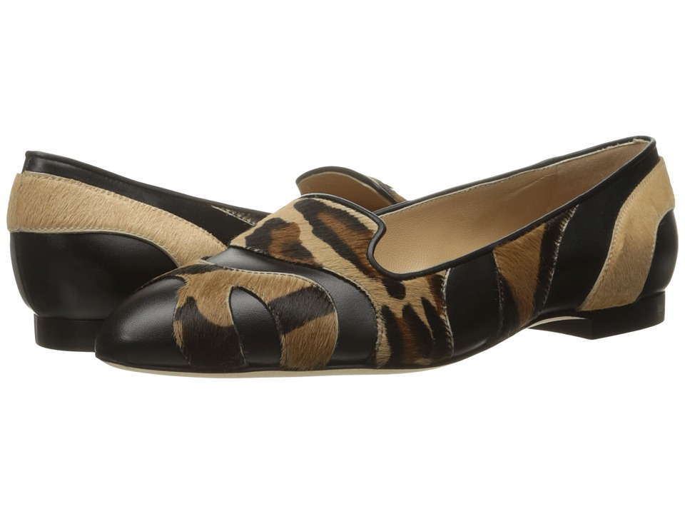Image of Alberta Ferretti - Calf Leather Mixed Animal Flat, A1566 (Fantasy Black) Women's Flat Shoes