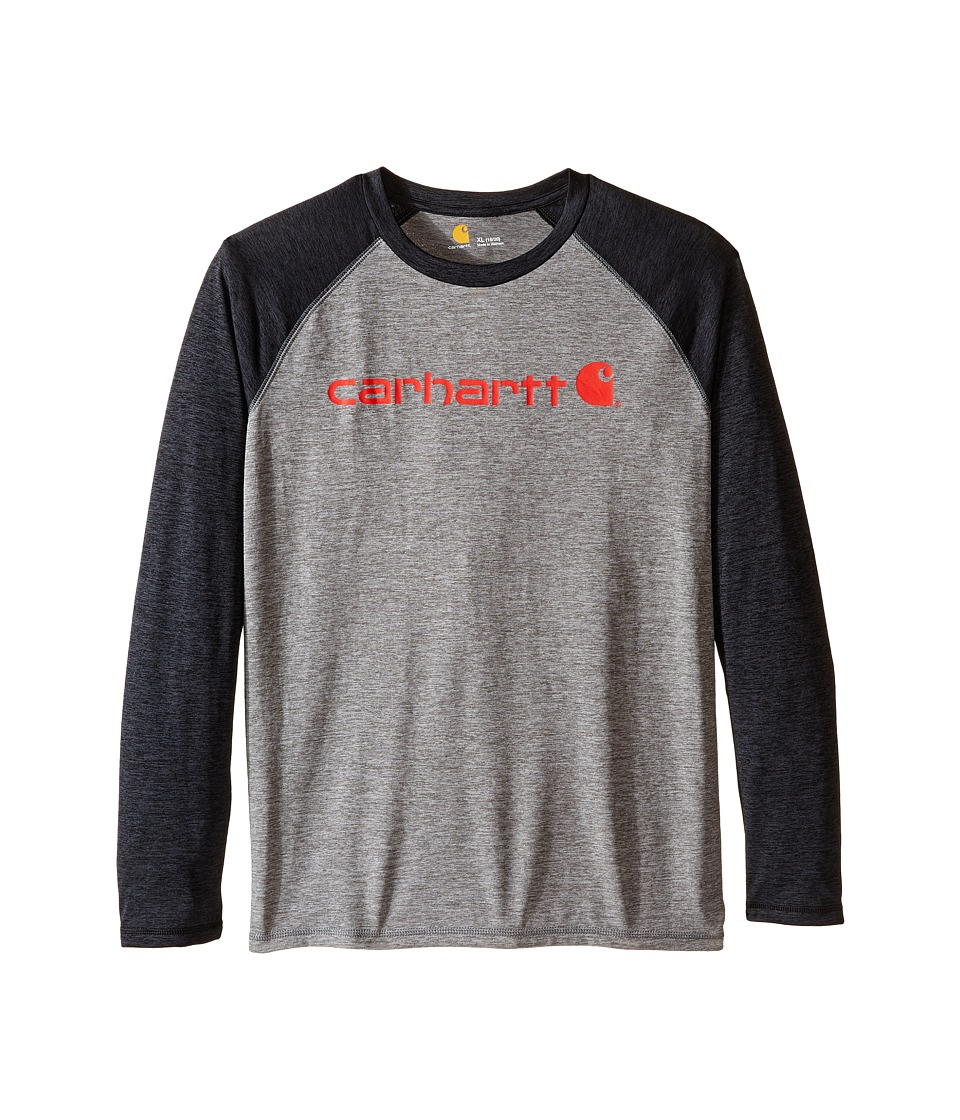 Carhartt Kids - Long Sleeve Force Raglan Tee (Big Kids) (Dark Grey/Black) Boy's T Shirt
