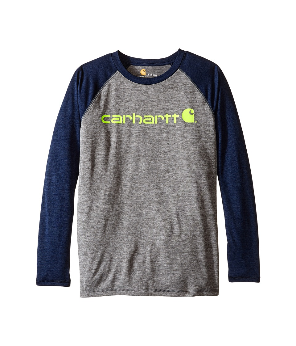 Carhartt Kids - Long Sleeve Force Raglan Tee (Big Kids) (Dark Grey/Navy) Boy's T Shirt