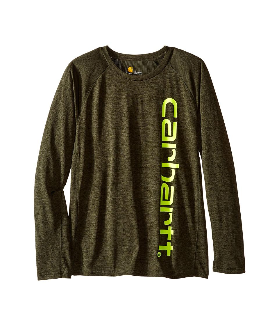 Carhartt Kids - Force Logo Tee (Big Kids) (Olive Heather) Boy's T Shirt