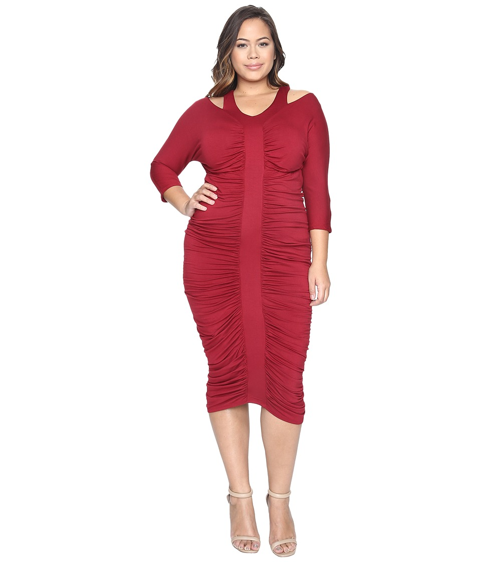 Kiyonna - Riveting Ruched Dress (Garnet) Women's Dress