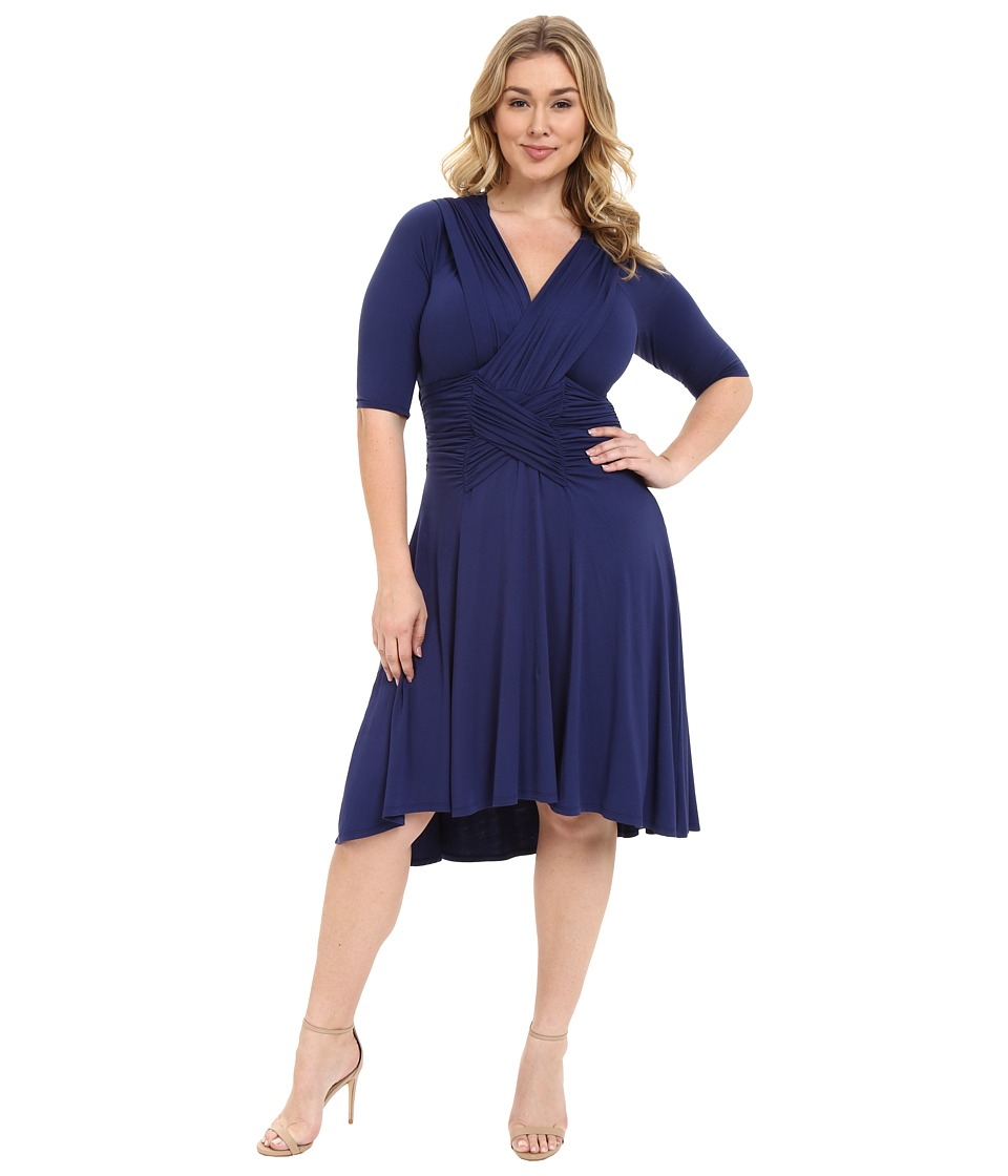 Kiyonna - Refined Ruched Dress (Indigo) Women's Dress