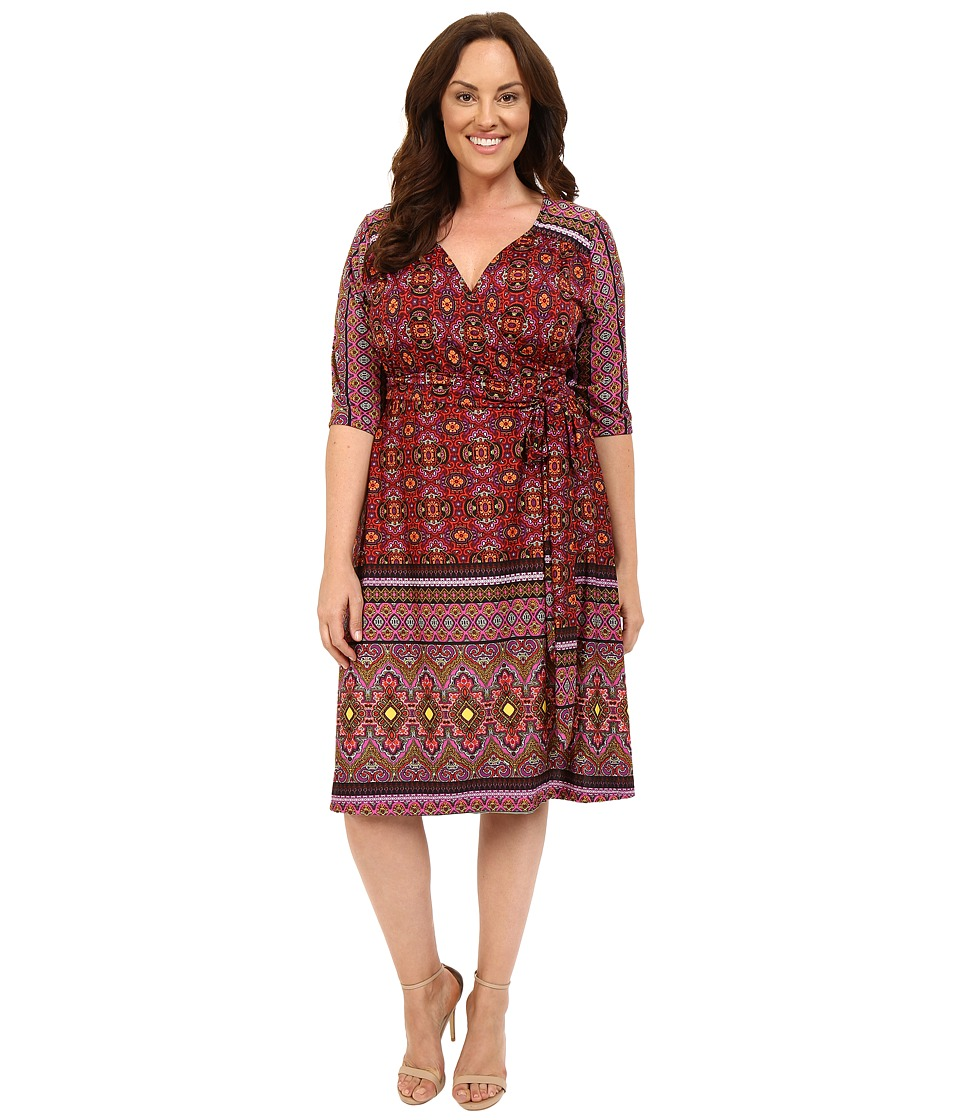 Kiyonna - Beguiling Border Print Dress (Batik Blossom) Women's Dress