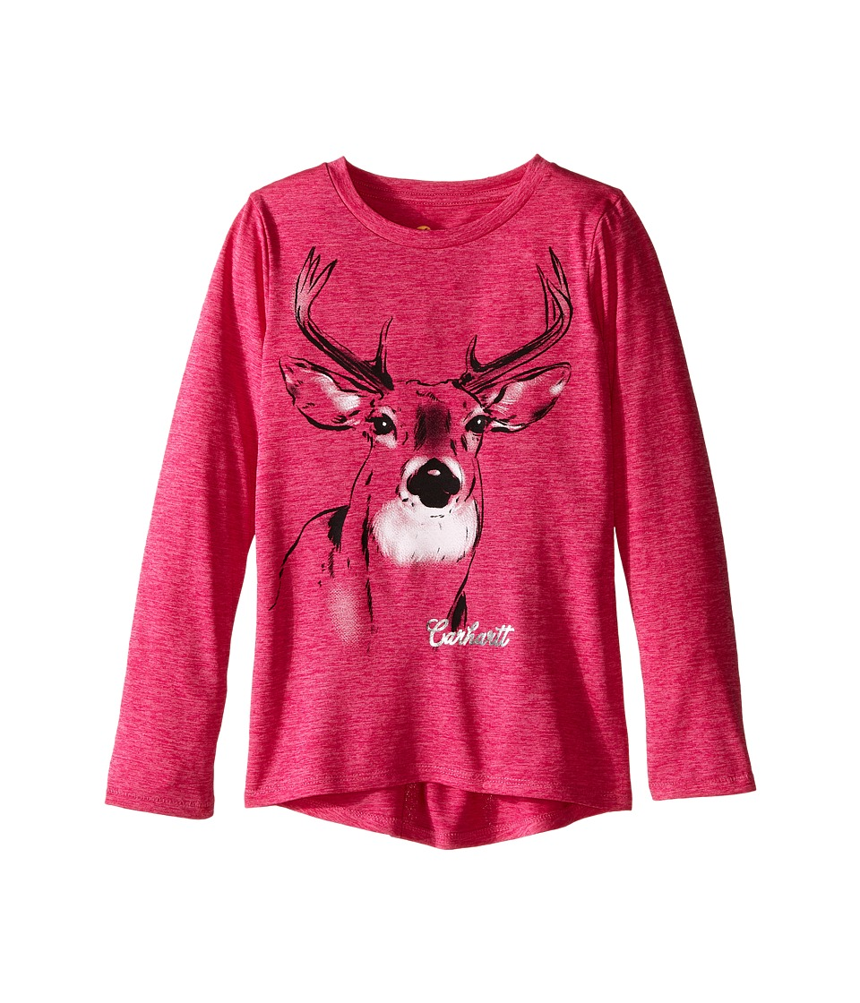 Carhartt Kids - Photoreal Deer Force Tee (Little Kids) (Raspberry Rose Heather) Girl's T Shirt