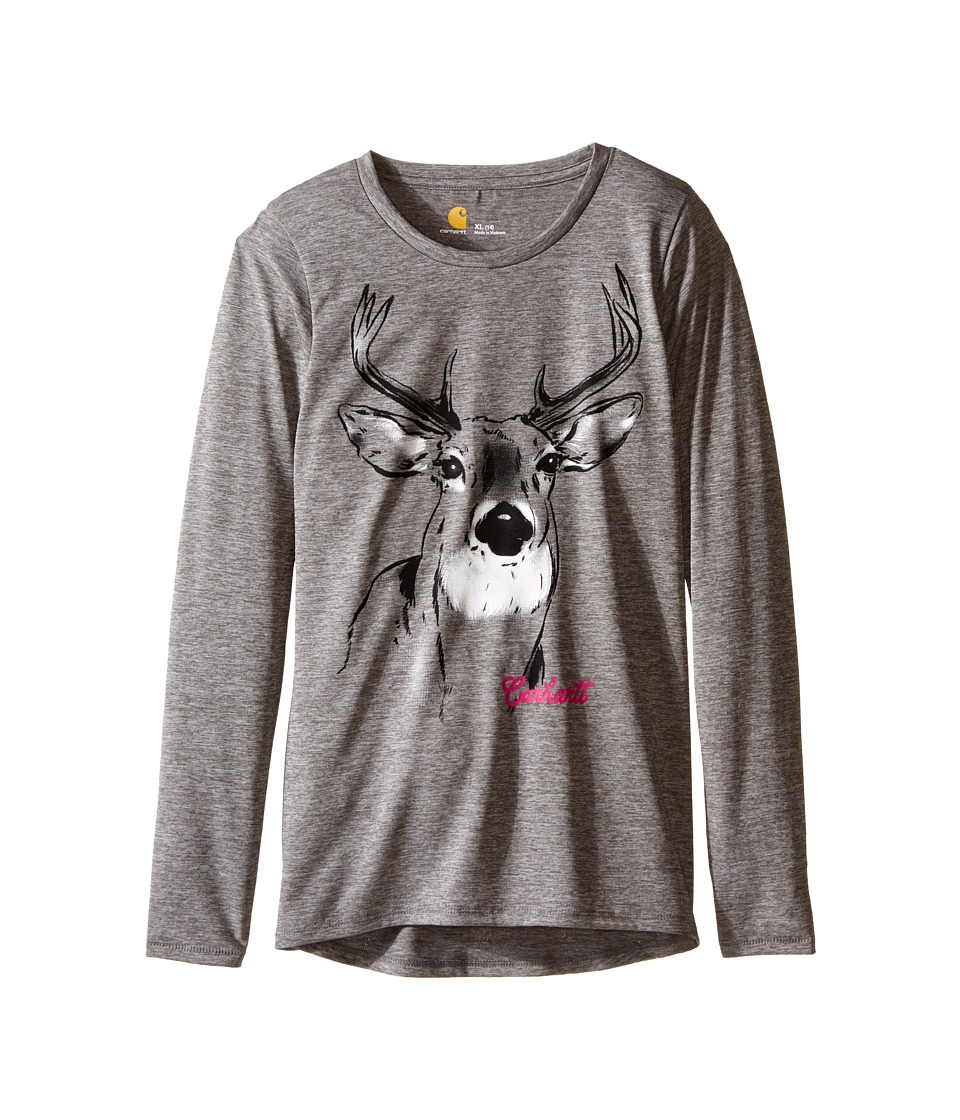 Carhartt Kids - Photoreal Deer Force Tee (Big Kids) (Charcoal Grey Heather) Girl's T Shirt