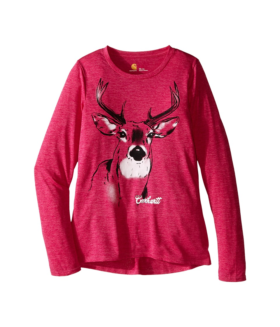 Carhartt Kids - Photoreal Deer Force Tee (Big Kids) (Raspberry Rose Heather) Girl's T Shirt