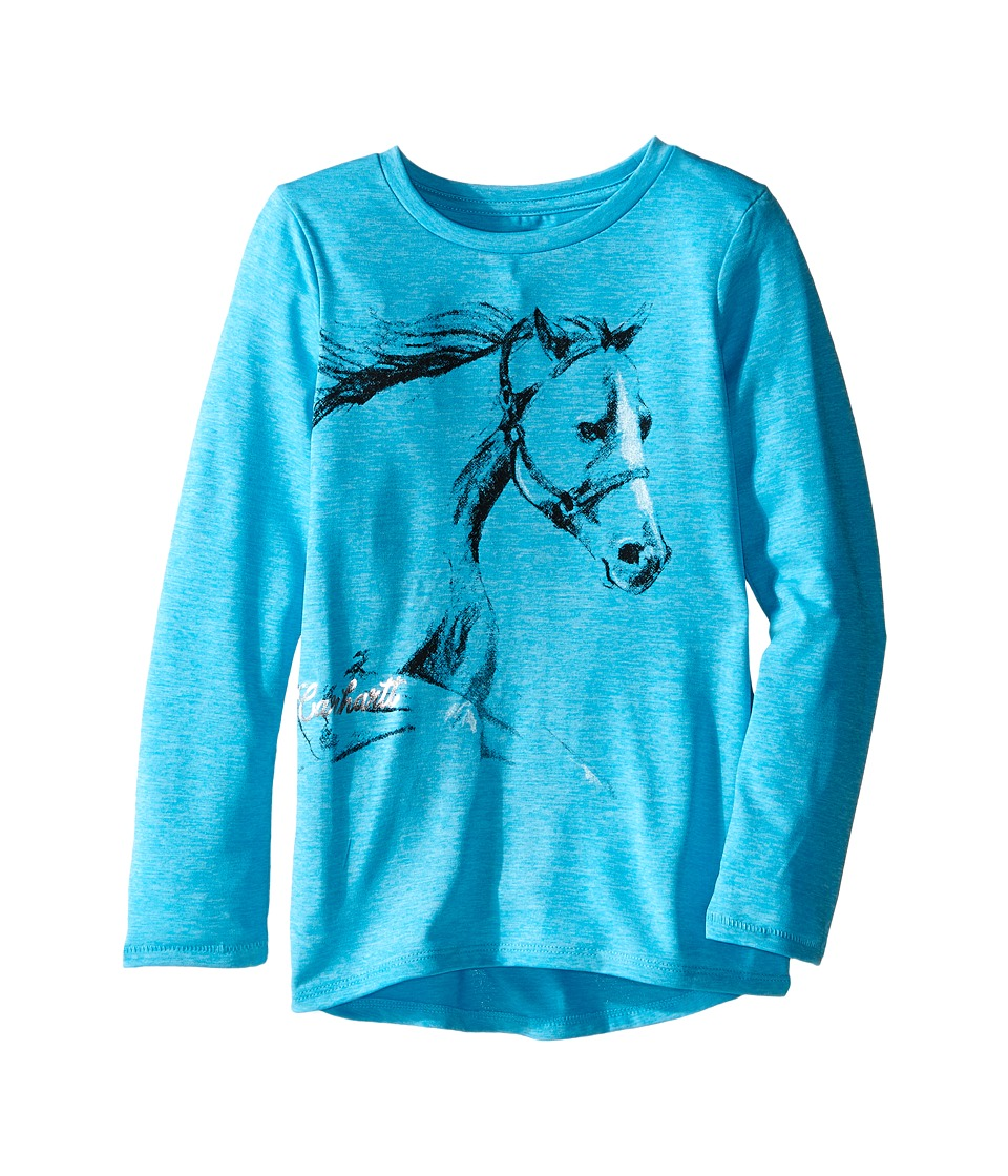 Carhartt Kids - Photoreal Horse Force Tee (Little Kids) (Blue Atoll Heather) Girl's T Shirt