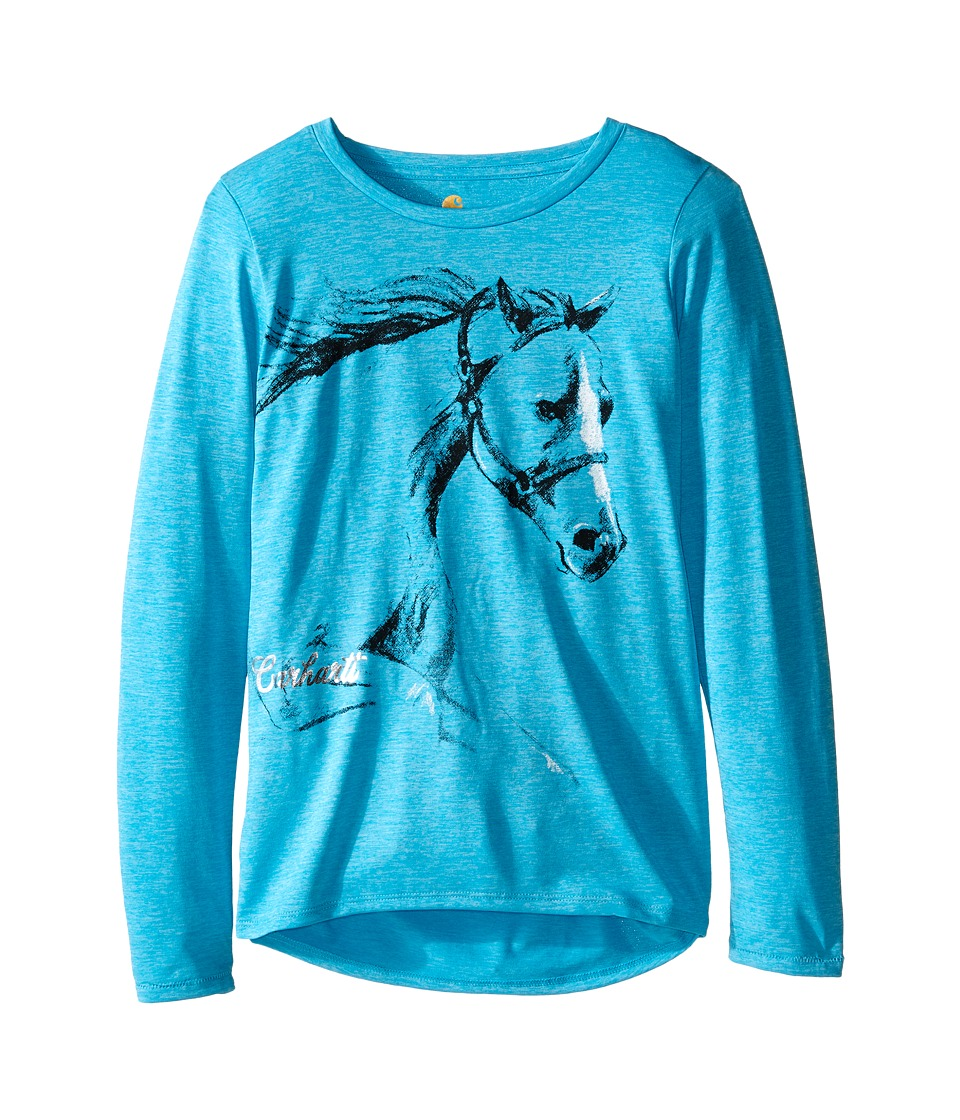 Carhartt Kids - Photoreal Horse Force Tee (Big Kids) (Blue Atoll Heather) Girl's T Shirt