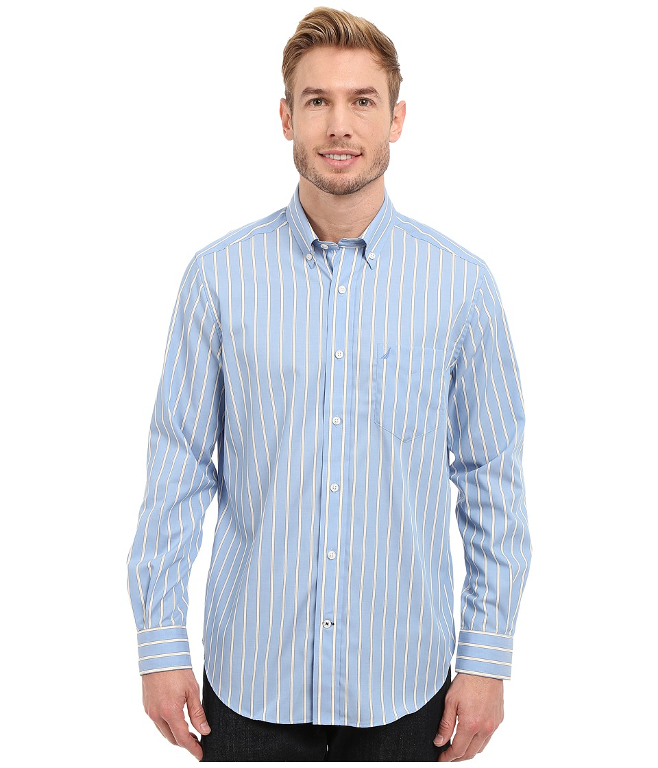 Nautica - Long Sleeve Wrinkle Resistant Stripe with Pocket (Blue Haze) Men's Clothing
