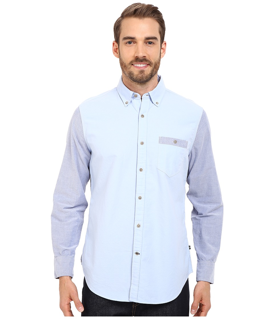 Nautica - Slim Fit Color Blocked Oxford Shirt (Thistle) Men's Short Sleeve Button Up