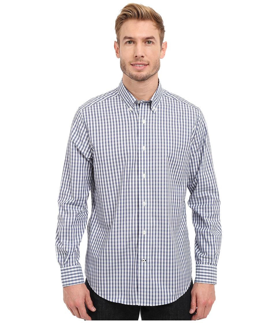 Nautica - Long Sleeve Wrinkle Resistant Small Gingham (Porthole Blue) Men's Clothing