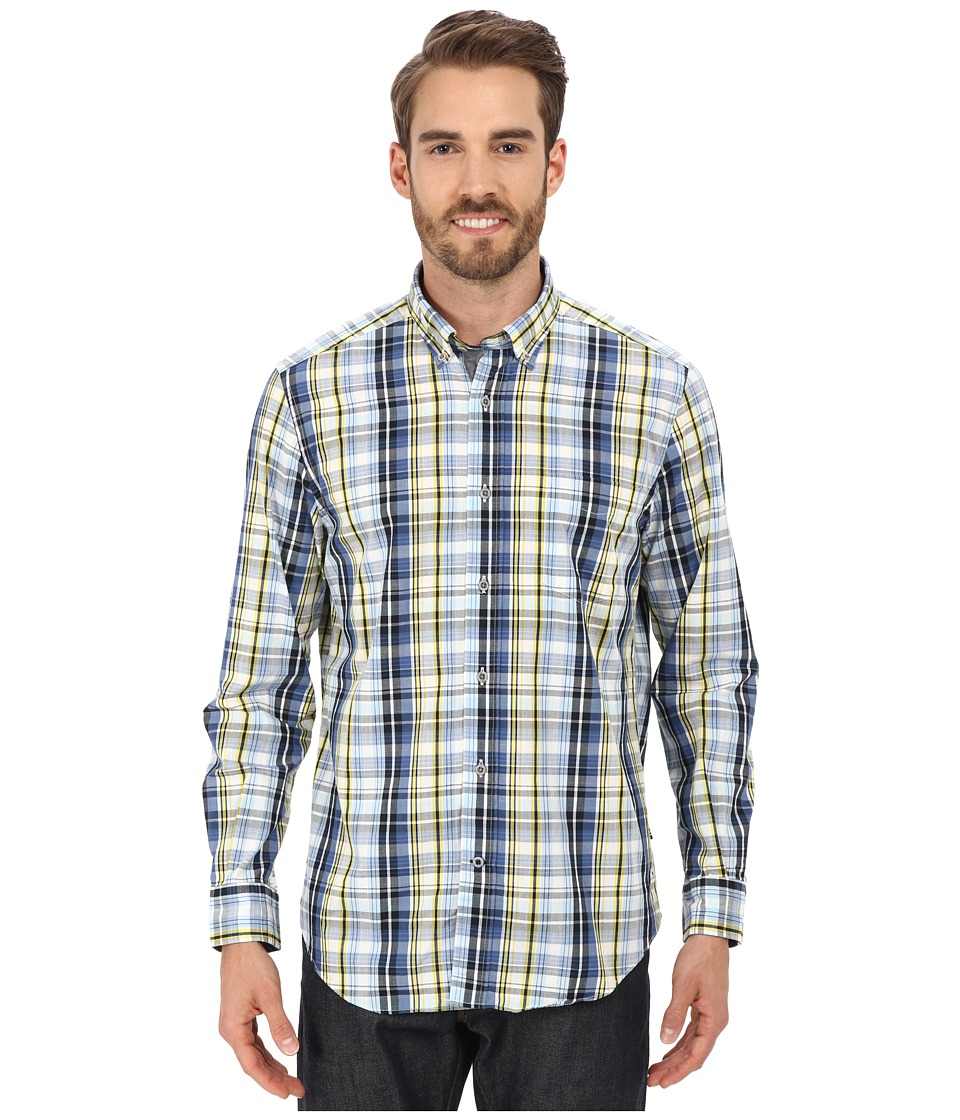 Nautica - Long Sleeve Plaid with Pocket (Navy) Men's Long Sleeve Button Up