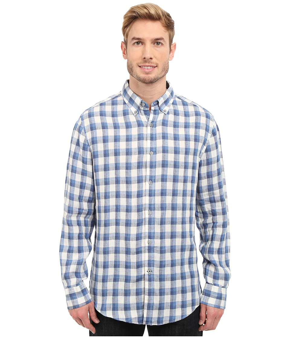Nautica - Long Sleeve Linen with Pocket (Federal Blue) Men's Clothing