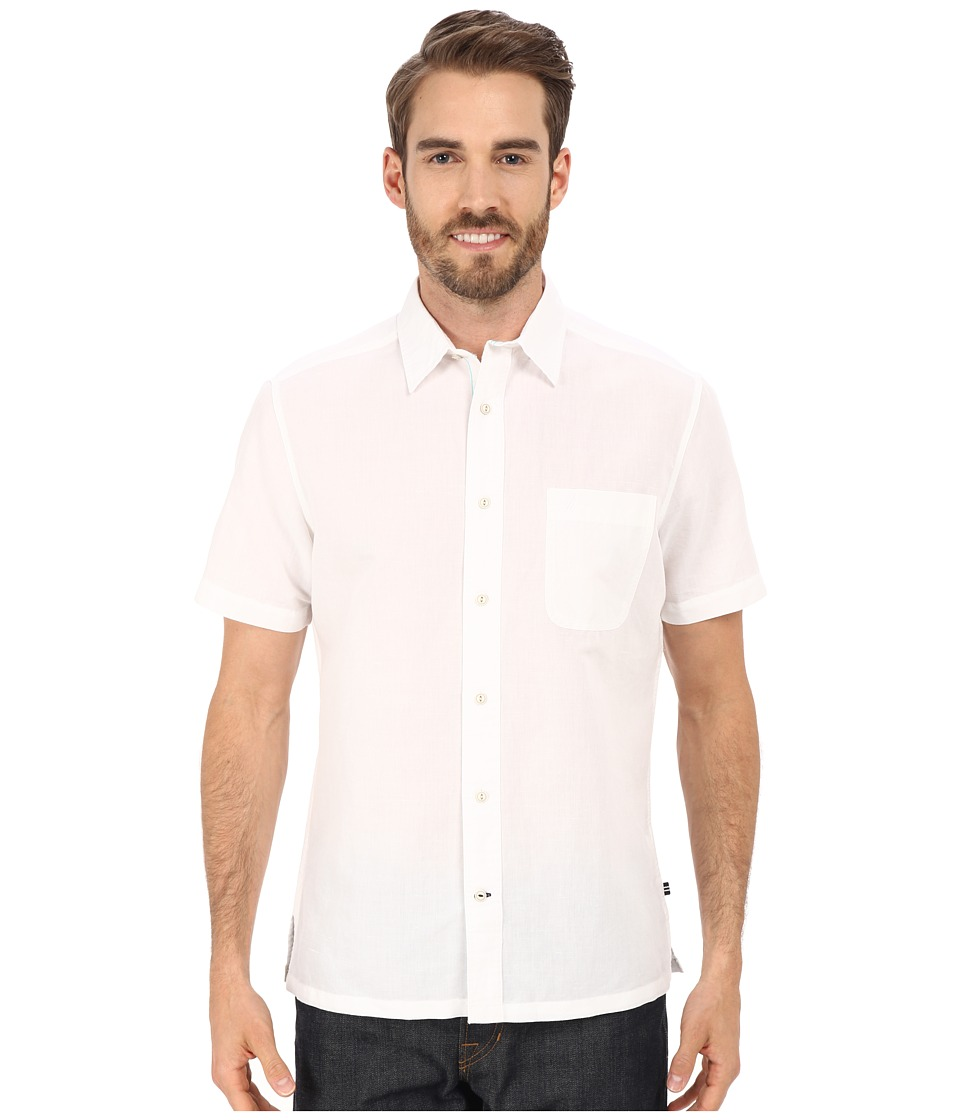 Nautica - Slim Fit Ramie Short Sleeve Shirt (Bright White) Men's Short Sleeve Button Up