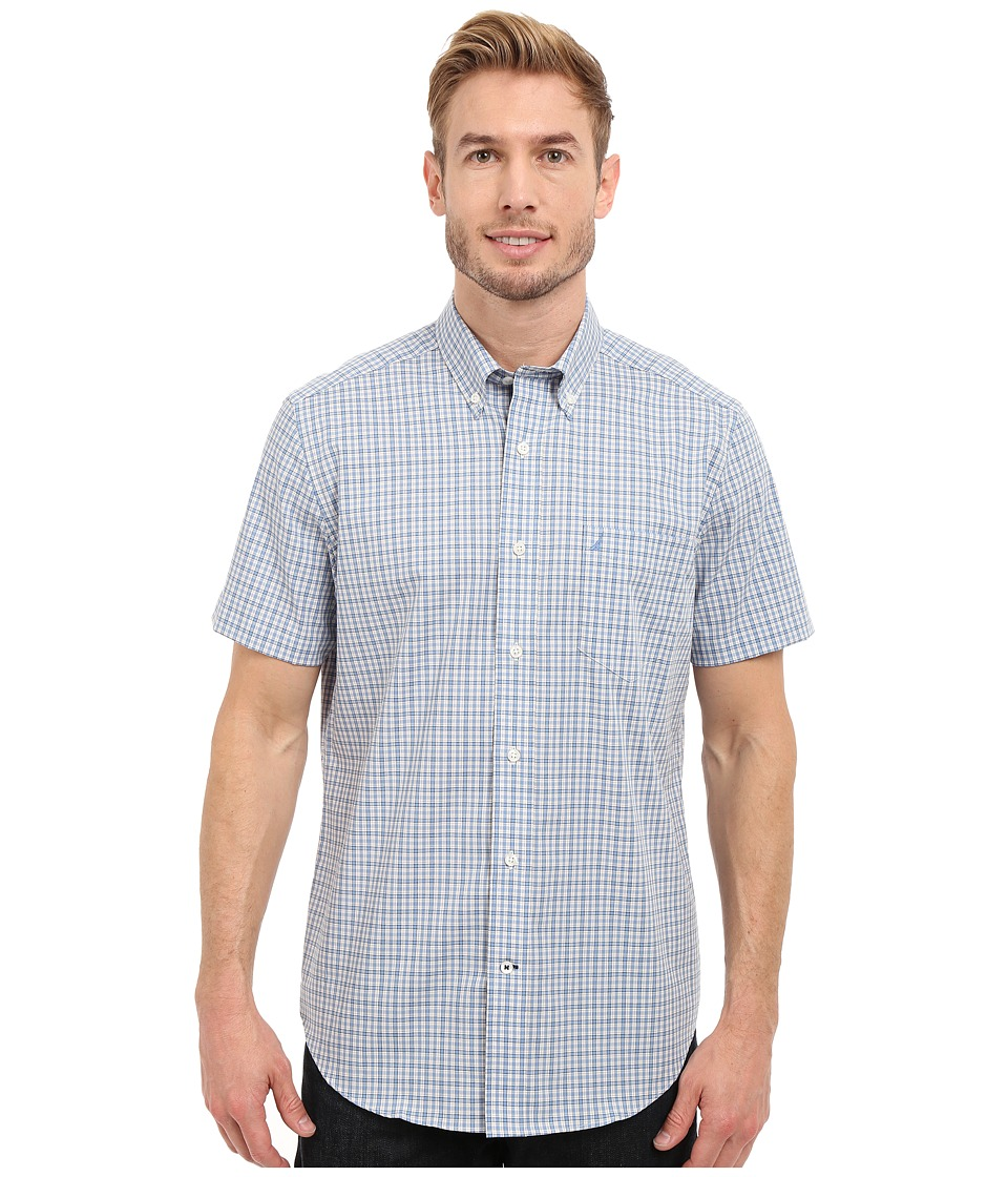 Nautica - Short Sleeve Wrinkle Resistant with Pocket Small Plaid (Blue Haze) Men's Clothing