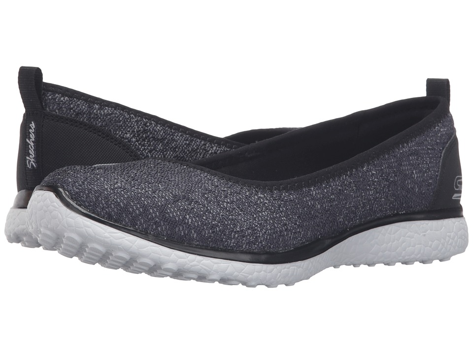 SKECHERS - Microburst - Hype-Up (Black/White) Women's Slip on Shoes