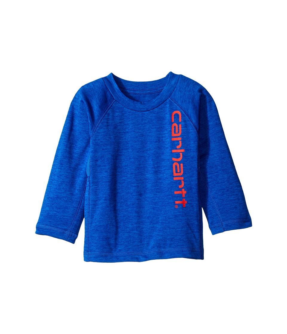 Carhartt Kids - Force Logo Raglan Tee (Infant) (Olympian Blue Heather) Boy's T Shirt