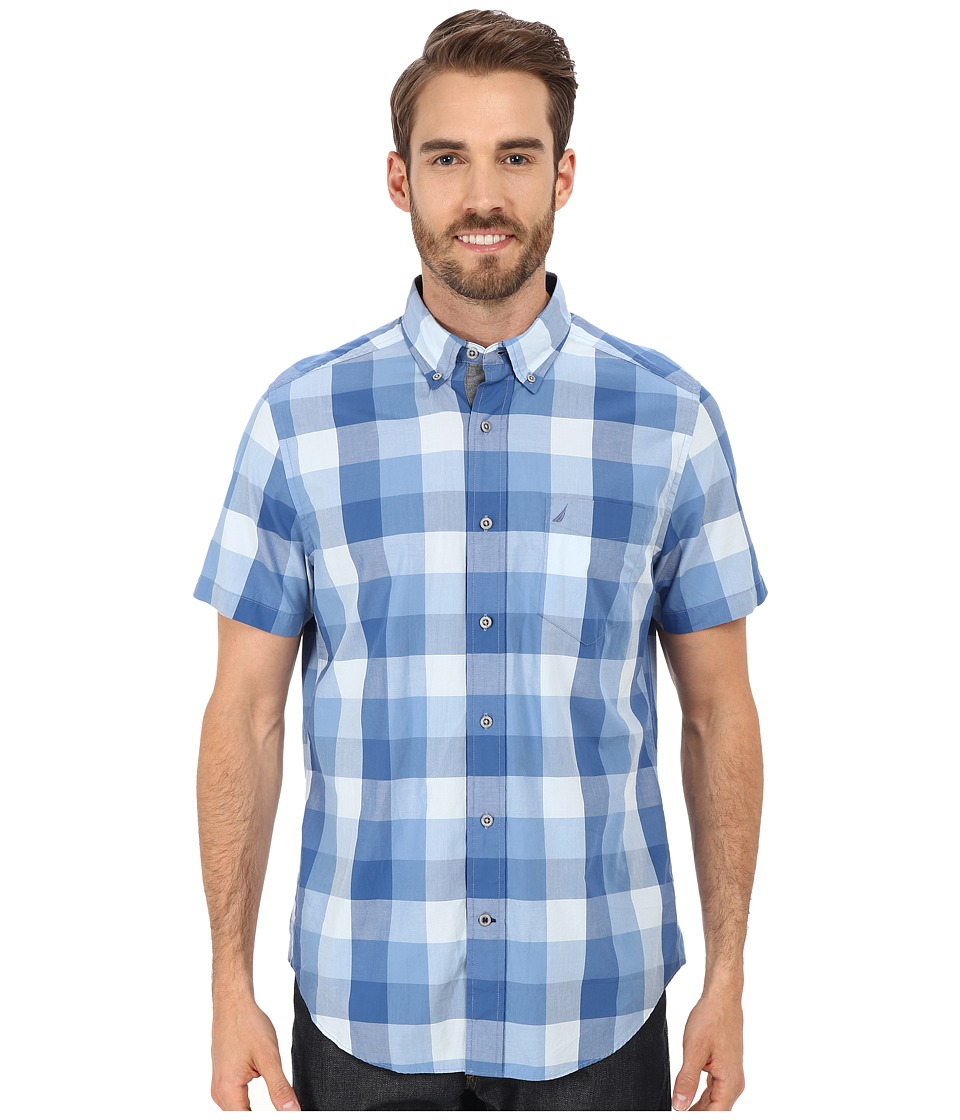 Nautica - Short Sleeve Buffalo Plaid with Pocket (Federal Blue) Men's Short Sleeve Button Up