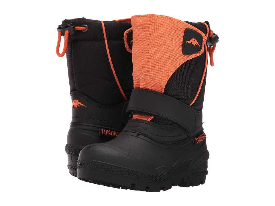 Tundra Boots Kids - Quebec (Toddler/Little Kid/Big Kid) (Black/Orange) Kids Shoes