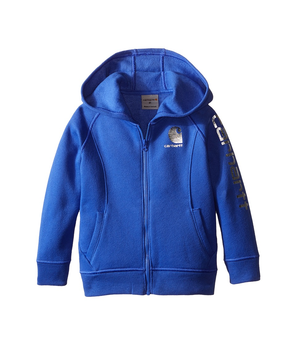 Carhartt Kids - Carhartt Logo Zip Sweatshirt (Toddler) (Amparo Blue) Girl's Sweatshirt