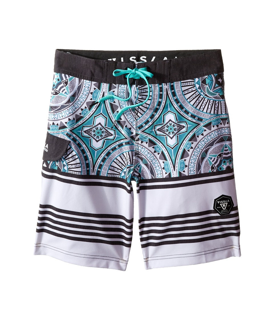 VISSLA Kids - Suicides Washed 4-Way Stretch Boardshorts 17 (Big Kids) (Jade) Boy's Swimwear
