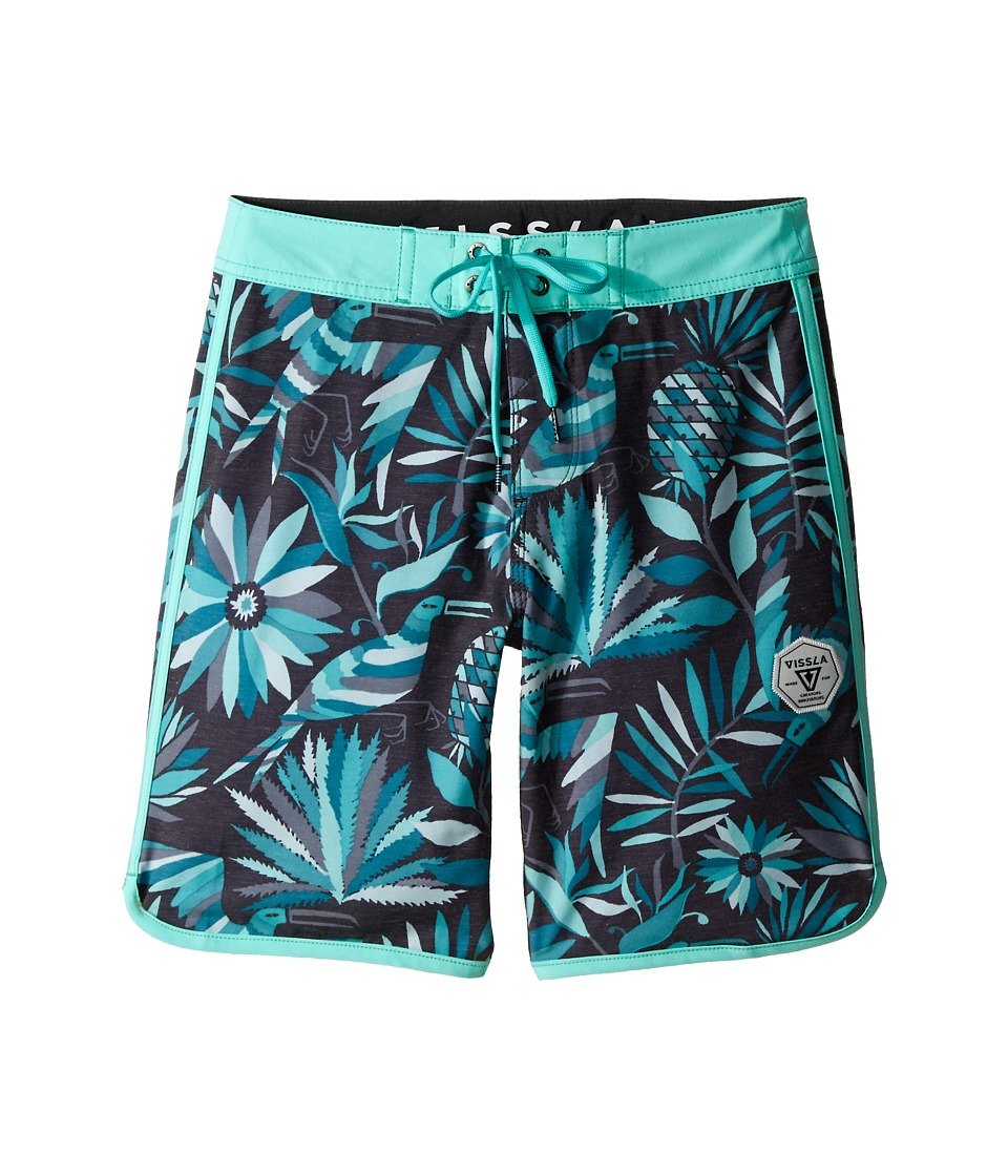 VISSLA Kids - Aloha Amigo Washed 4-Way Stretch Boardshorts 17 (Big Kids) (Phantom) Boy's Swimwear