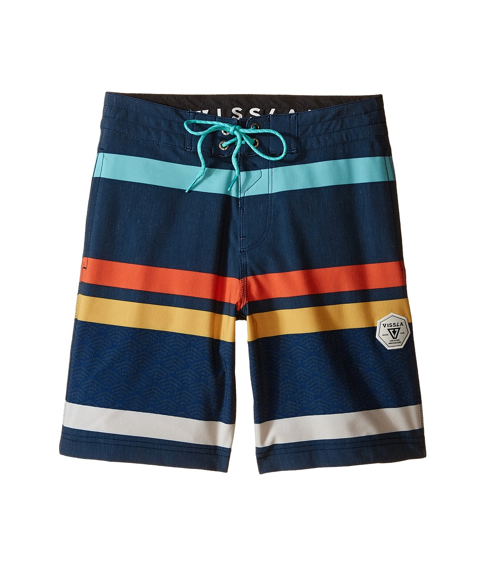 VISSLA Kids - Mind Surf Washed 4-Way Stretch Boardshorts 17 (Big Kids) (Dark Navy) Boy's Swimwear