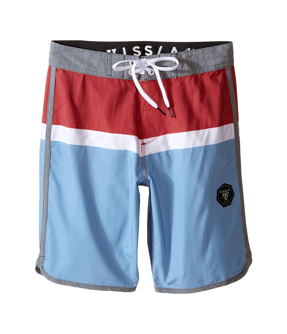 VISSLA Kids - Dredges 4-Way Stretch Boardshorts 17 (Big Kids) (Red) Boy's Swimwear