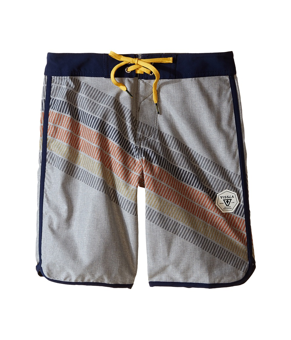 VISSLA Kids - Drain Pipes 4-Way Stretch Boardshorts 17 (Big Kids) (Gunmetal) Boy's Swimwear