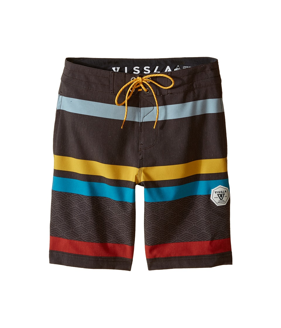 VISSLA Kids - Mind Surf Washed 4-Way Stretch Boardshorts 17 (Big Kids) (Dark Brown) Boy's Swimwear