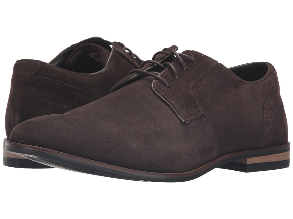 Rockport - Birch Lake Plain Toe (Dark Bitter Chocolate Suede) Men's Shoes