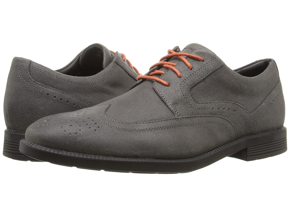 Rockport - Dressports Business Wing Tip (Castlerock Grey Suede) Men's Shoes