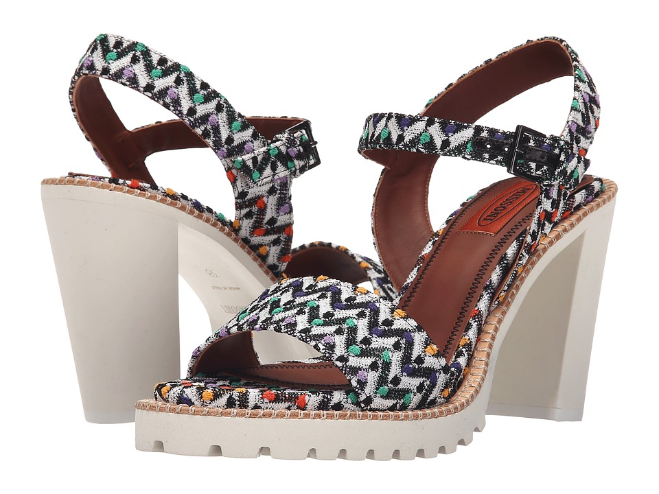Missoni - Raschel Heel Multi Sandal (Black/White) Women's Sandals