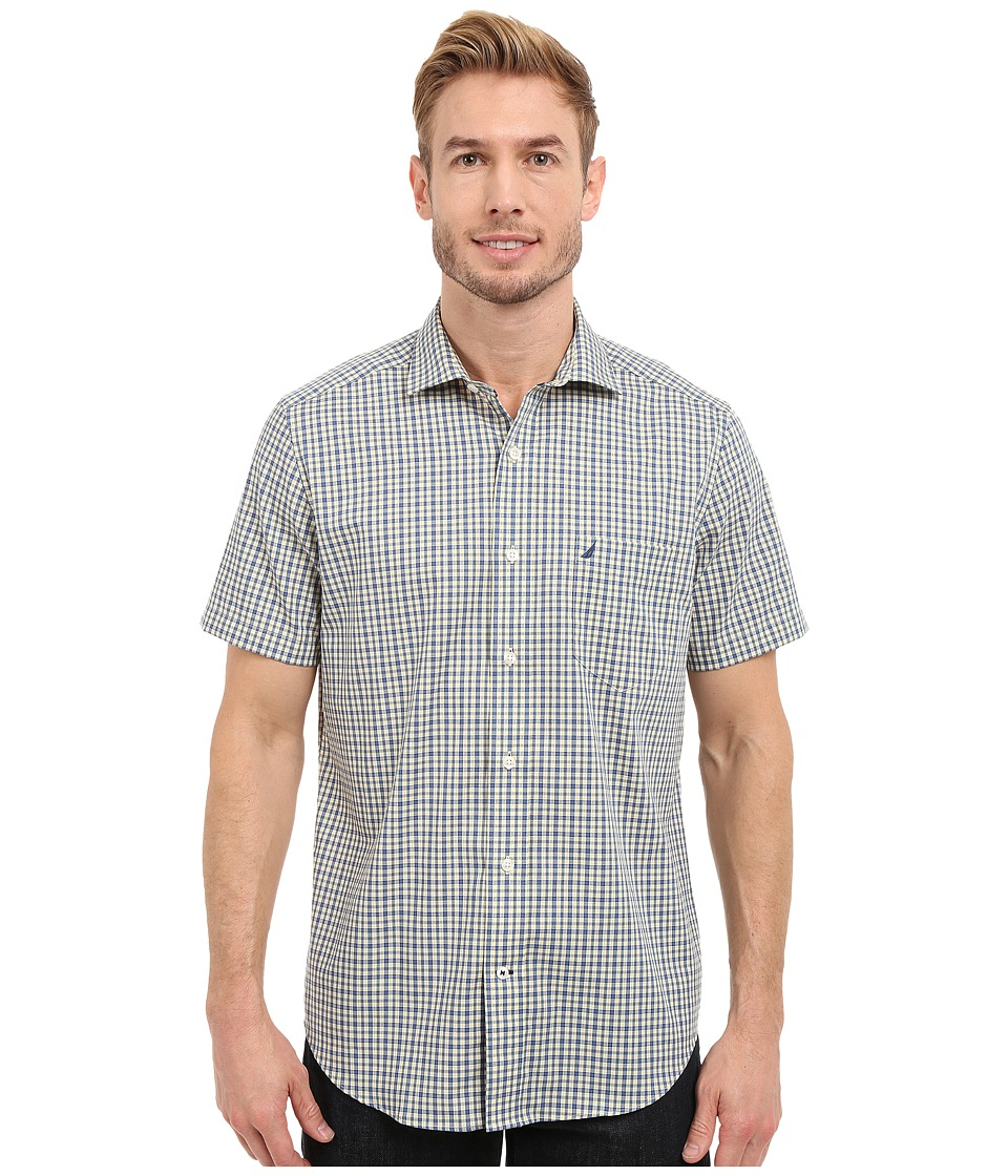 Nautica - Short Sleeve Wrinkle Resistant with Pocket Small Plaid (Union Blue) Men's Clothing
