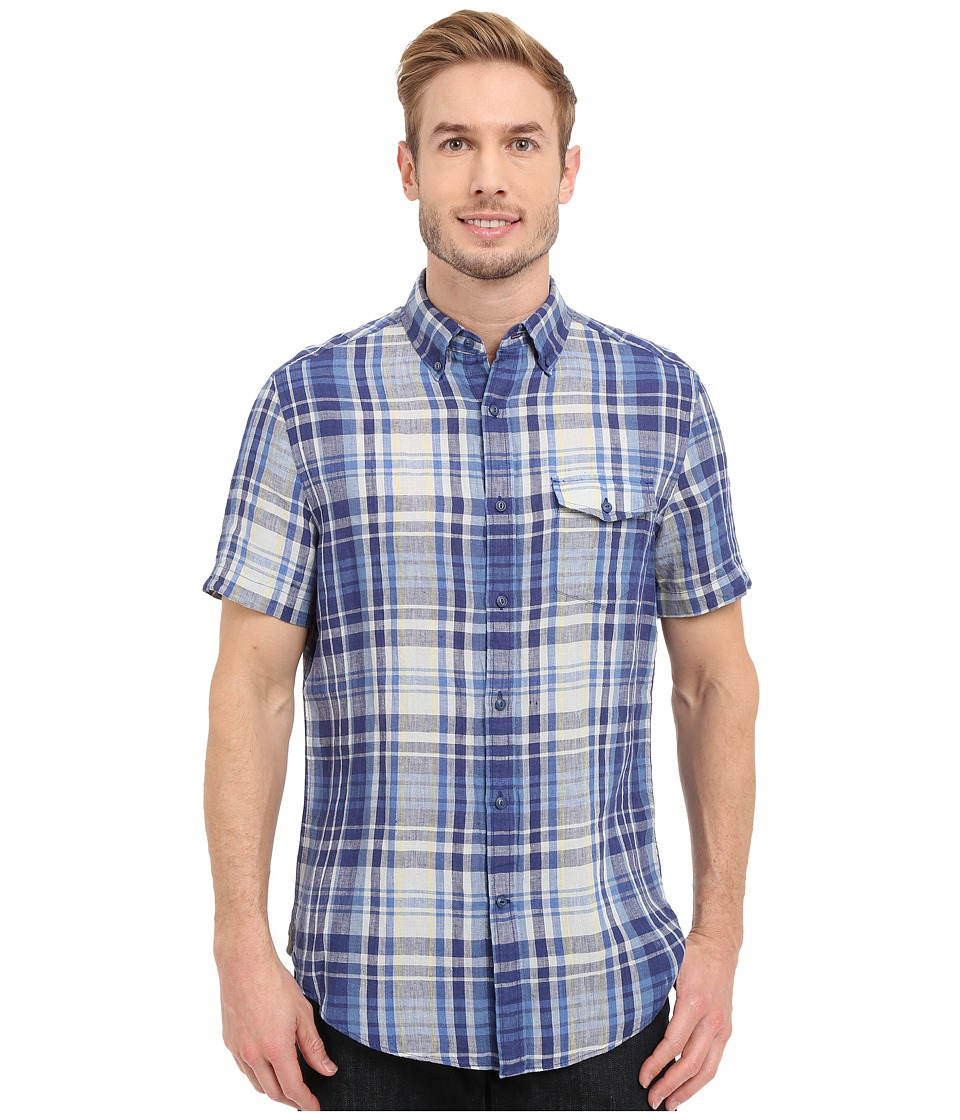 Nautica - Short Sleeve Blue Plaid with Pocket (Blue Print) Men's Short Sleeve Button Up