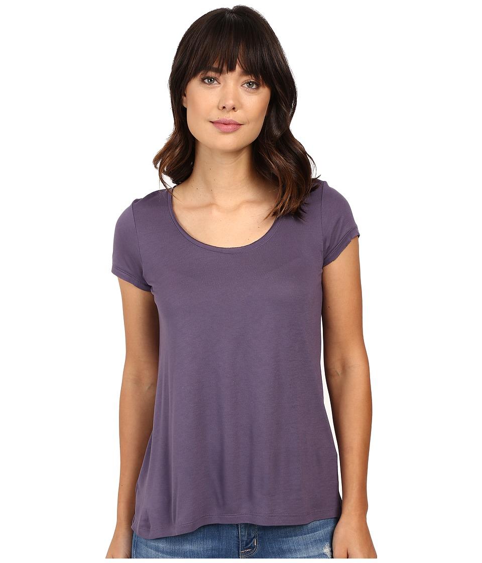 Calvin Klein Jeans Solid Short Sleeve Split Back Tee (Dense Violet) Women