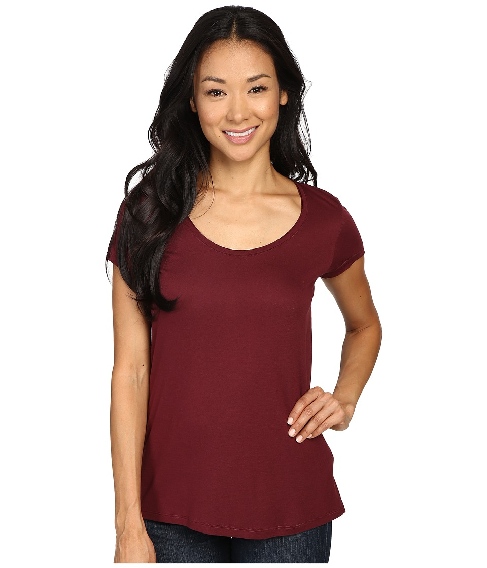 Calvin Klein Jeans - Solid Short Sleeve Split Back Tee (Tawny Port) Women's T Shirt